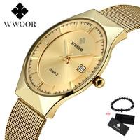 WWOOR мужские s часы Лидирующий бренд Роскошные спортивные часы ультратонкие сетчатые повседневные водонепроницаемые кварцевые часы мужские
