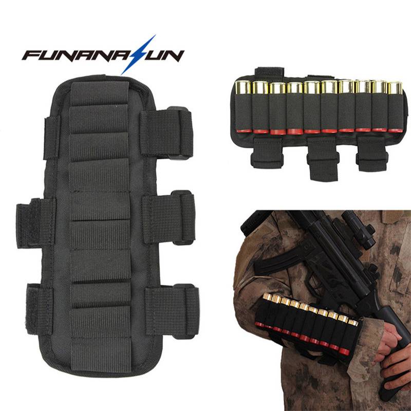 Hunting Shotgun Buttstock Ammo Sleeve Carrier 10 Round Shell Holder Airsoft Arm Band Molle Cartridge Pouch for Shooting War Game