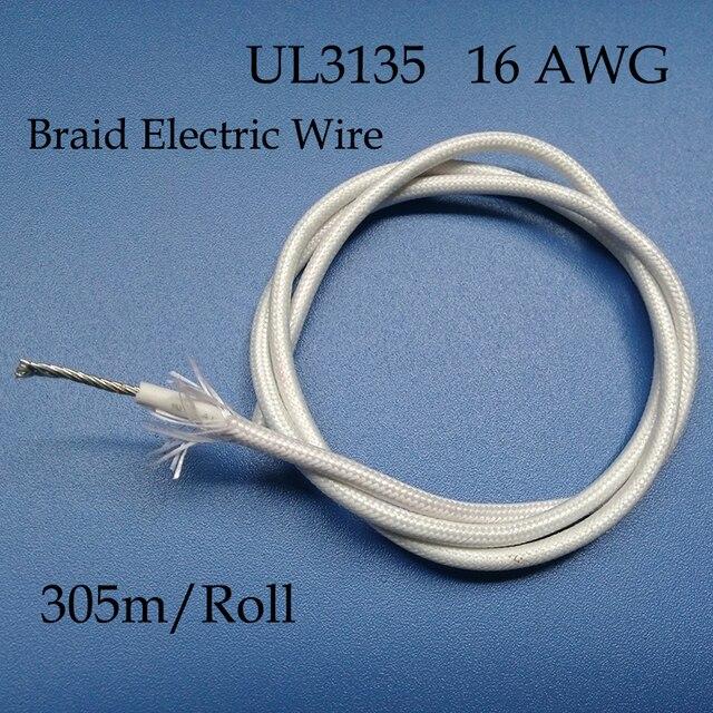 305m UL3135 16AWG Wearproof Silicone Fiberglass Wire,Heatproof Braid ...