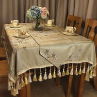 CURCYA Decorative Table Cloths Covers for Dining Tables Traditional Chinese Flowers Pattern Luxury Jacquard Tablecloth