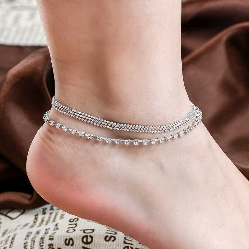 H:HYDE 1 PC Multi-layer Sexy Crystal Anklet Foot Chain Summer Bracelet Charm Anklets Beach Foot Wedding Jewelry Gift enkelbandje