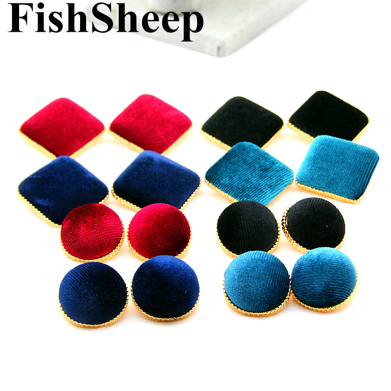 Statement Round Velvet Button Stud Earrings For Women 4 Colors Bohemian Cloth Fabric Hal ...