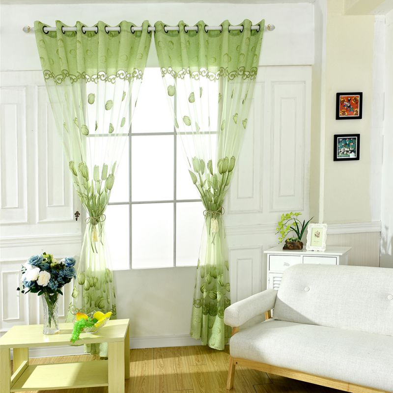 Tulip Printed Sheers Window Drape Scarf Valance Curtains