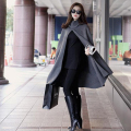 Winter Warm Cotton Grace Cape Pullover Long Coat Hat Hooded Women Winter Vintage Solid Color Black Grey Jacket Women