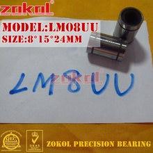 ZOKOL LM8 UU LM08UU teniendo LM8UU rodamiento de movimiento lineal 8*15*24mm