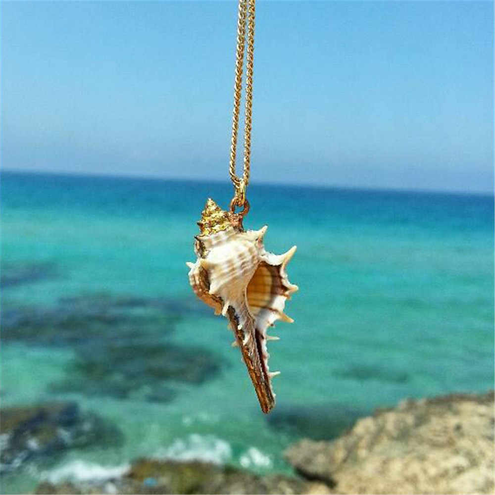 Summer Sea Shell Mermaid Necklace For Women Men Elegant Boho Shell Pendant Necklaces Mermaid Beach Jewelry A063