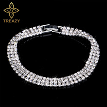 TREAZY Luxury Rhinestone Crystal Bracelets For Women Fashion Silver Plated Bracelets & Bangles Bridal Wedding Jewelry