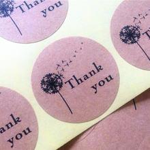 100 шт/лот Одуванчик «thank you» самоклеящаяся крафт бумага