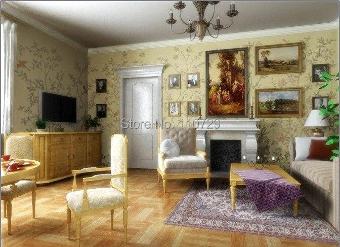 Ручная роспись шелковые обои картина бамбуковое дерево цветок с птицами ручная роспись ТВ/спальня/гостиная/столовая/диван Настенные обои