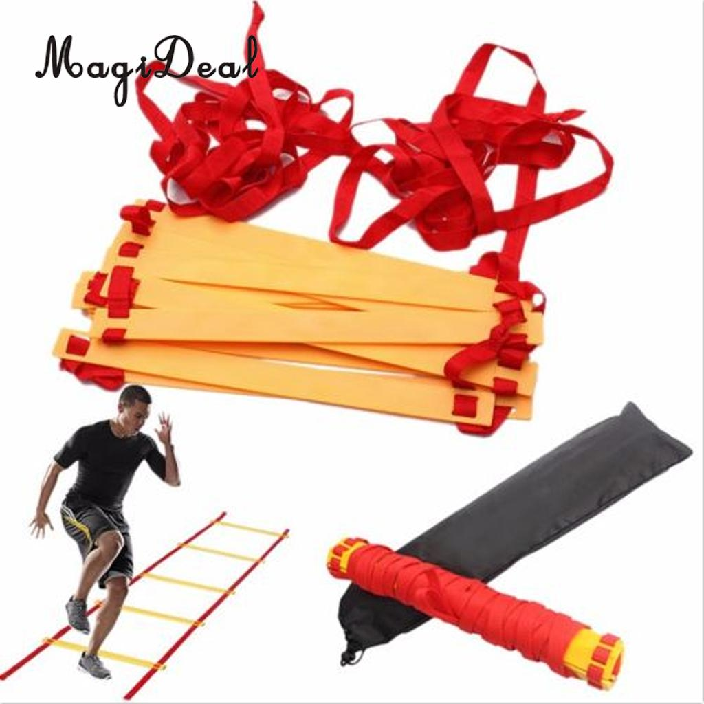 MagiDeal 6 Rung Nylon Straps Training Ladders Agility Speed Ladder Stairs for Soccer and Football Speed Ladder Equipment