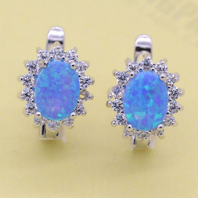 Fashion Jewelry Oval  fire opal White Gold Plated Zirconia Earrings For Women Wedding Anniversary 4colors