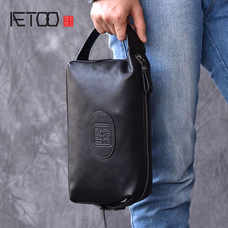 AETOO modèles rétro tendance style chinois sac à main en cuir pour hommes sac à main en cuir sac à main grande capacité