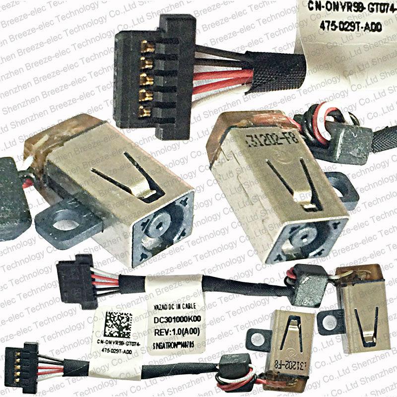 5 PCS / LOT Original Nouveau Ordinateur Portable DC Power Jack Câble Socket connecteur pour Dell XPS 12 9Q23 9Q33 P / N: DC30100OK00 NVR98 livraison gratuite