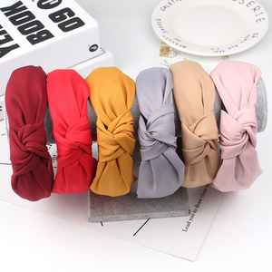 Simple Cloth Headband Cross Cotton Soft 1PC Bow Knot Turban Hairband Comfortable Seaside Girls Sweet 8 Colors Gifts Solid(China)
