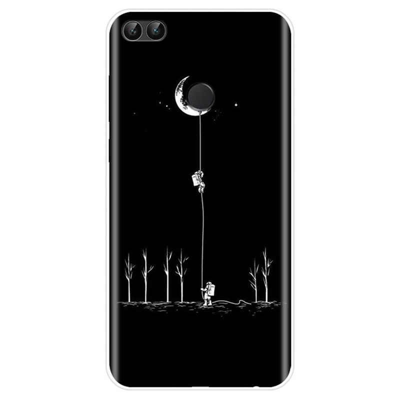 Spazio Luna Astronauta Nero Bianco Della Copertura di TPU Cassa Del Telefono Per Huawei P9 P10 P20 PIÙ P20 P30 PRO P8 P9 p10 P20 P30 lite P smart
