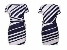 White Stripe Knot Sheath Party Dress