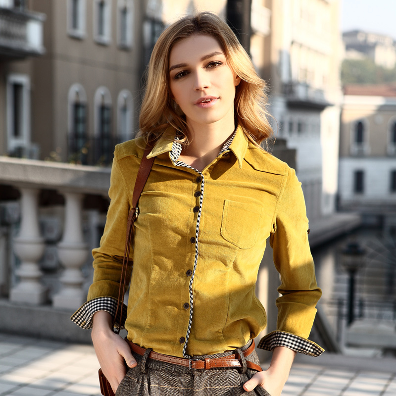 VERI GUDE 2014 Sping New Arrival Female Shirt Slim Style Corduroy Long Sleeve Pure Cotton