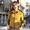 Veri Gude Women Shirt Slim Style Corduroy Blouse Long Sleeve Removable Collar Spring and Autumn