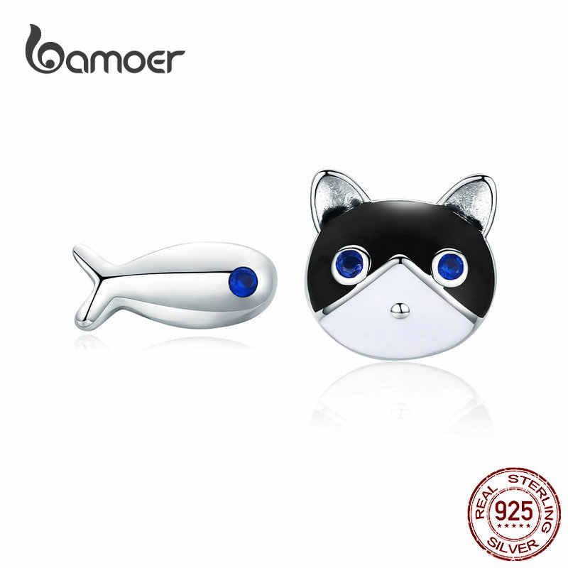BAMOER MẠ Mèo và Cá Bông Hoa Tai cho Bạn Gái Chắc Chắn Bạc Men Kitty Động Vật Tai Trang Sức Quà Tặng cho Trẻ Em SCE623