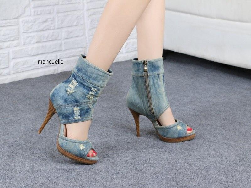 New Trendy Design Denim Cut-out Stiletto Heels Sandals Booties Classy Women Peep Toe Jeans Platform Ankle Boots FashionableShoes denim zipper hollow worn stiletto womens sandals
