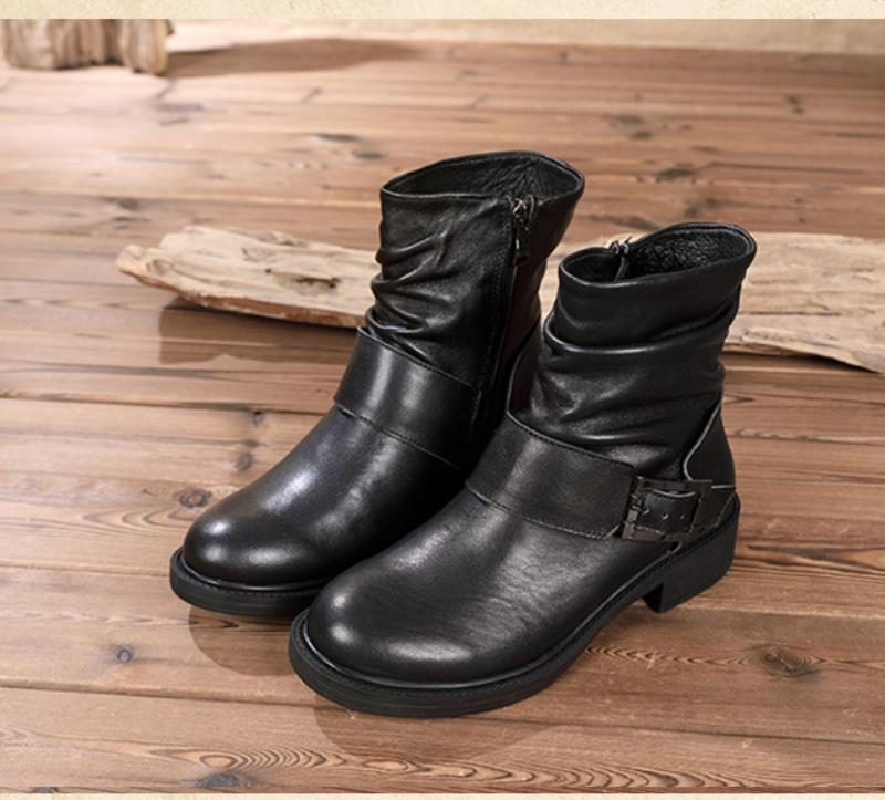 Winter retro medium boots Leather leather boots Inside zipper new short boots Crumpled Women s Boots
