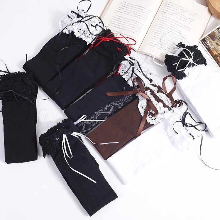 1ac498bc6 ... Niñas encaje arco Kawaii Lolita Pantyhose muslo medias altas para  mujeres botas calcetines de algodón