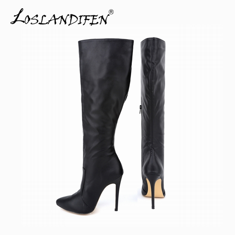 Plus Size 34-43 2015 Spring Autumn Women Boots Sexy High Heel Women Long Boots knee Platform Red Bottom Ladies Shoes 769-3MA vamolasc new women spring autumn lace over the knee boots sexy thin high heel boots elegant platform women shoes plus size 34 42