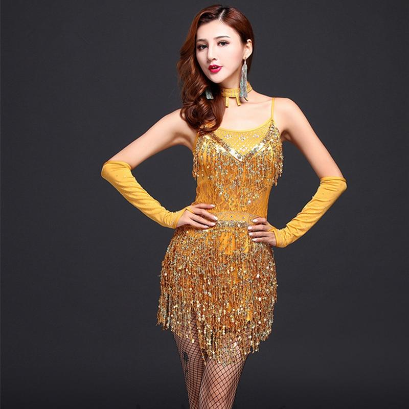 SZYMGS NEW Sequins Fringes Tassel Women Dresses Latin Dance Dress Skirt Women Latin Tango Ballroom Salsa Dance Dresses