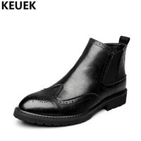 Luxury Vintage Men Bullock Martin Boots Genuine Leather Ankle Motorcycle Boots Male Brogue Shoes Zipper Chelsea