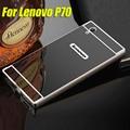 Cubierta para lenovo p70 teléfono case parachoques del metal de aluminio chapado espejo espejo casos de la contraportada para lenovo p70 p70t p 70 Capa