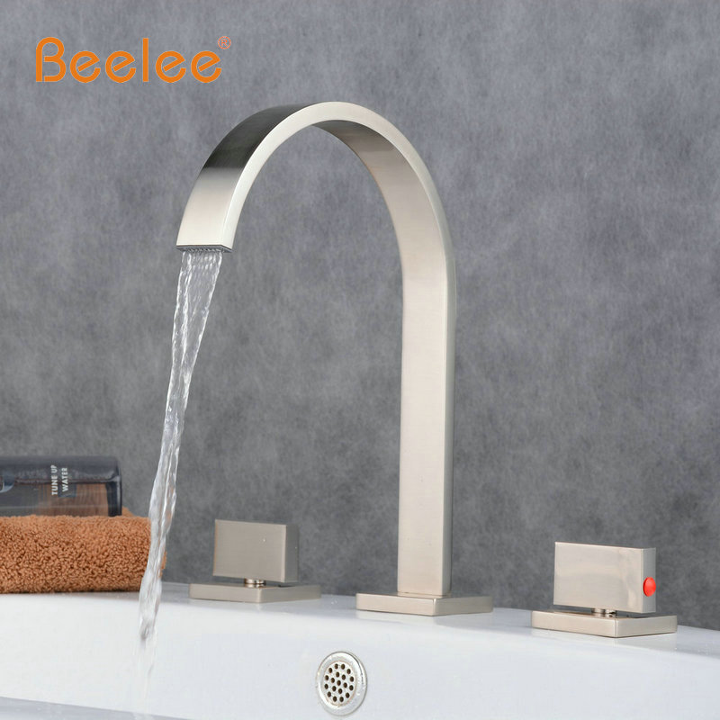 Beelee Newly Brushed Nickel 2 Handle 3 Pcs Waterfall Bathroom Basin Sink Faucet Deck Mounted Bathtub Hot&Cold Mixer Tap Faucet wall mounted dual handle waterfall basin faucet brushed nickel hot and cold wash basin mixer taps