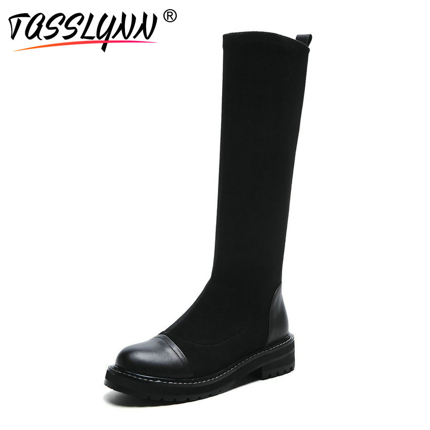 TASSLYNN 2018 Western Style Women Boots Square Med Heels Mid-calf Boots Round Toe Shoes Solid for Women Winter High Boots 34-41 цена 2017