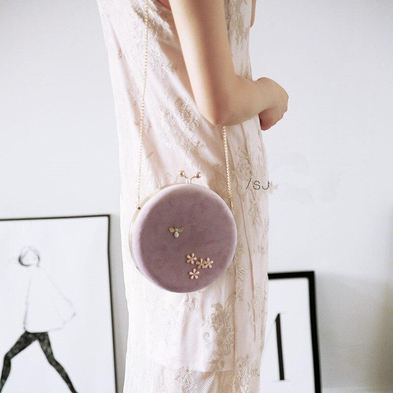 Professionnel fait à la main bricolage artisanat matériel paquet pour les femmes rondes Messenger sac 18 cm métal cadre sacs avec chaîne cadeau pour ami