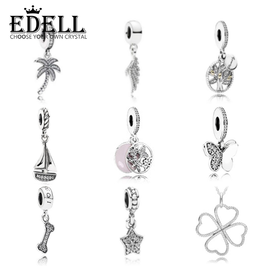 EDELL100%925 Sterling Silver Double Sparkling CZ Star Small bone Pendant Necklaces for Women Authentic Silver Butterfly Pendant