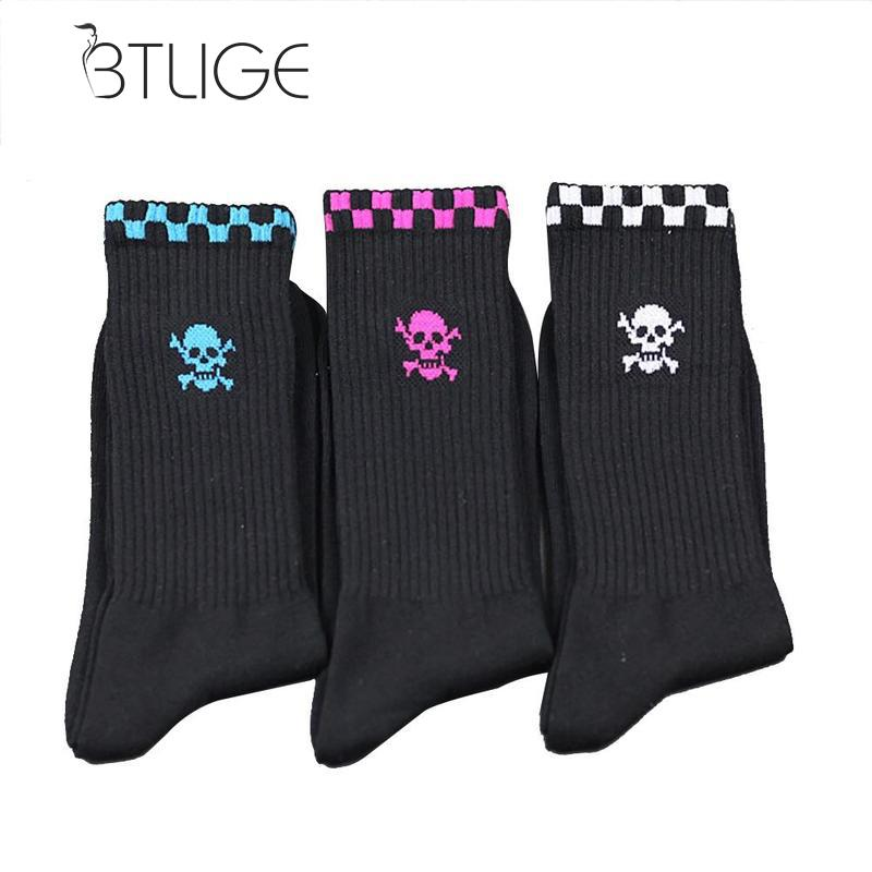 BTLIGE  Men Skull Print Cotton Socks Casual Crew Socks Breathable Soft Casual Cotton Socks Men Winter Autumn Warm Couple Socs