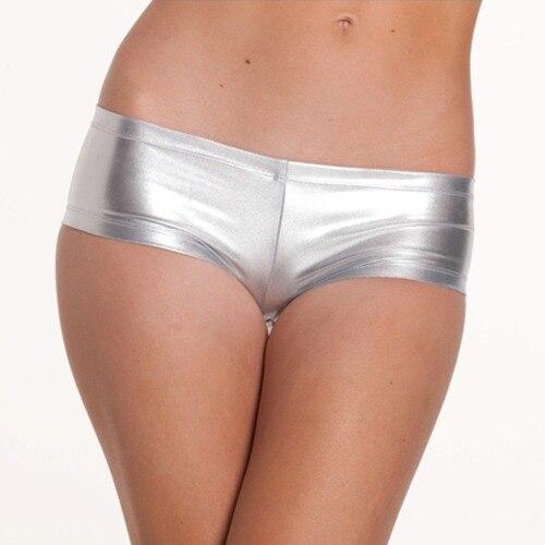 spedizione gratuita 3f7017 sexy pvc argento in pelle bagnata sguardo culotte mutandine sexy per le donne