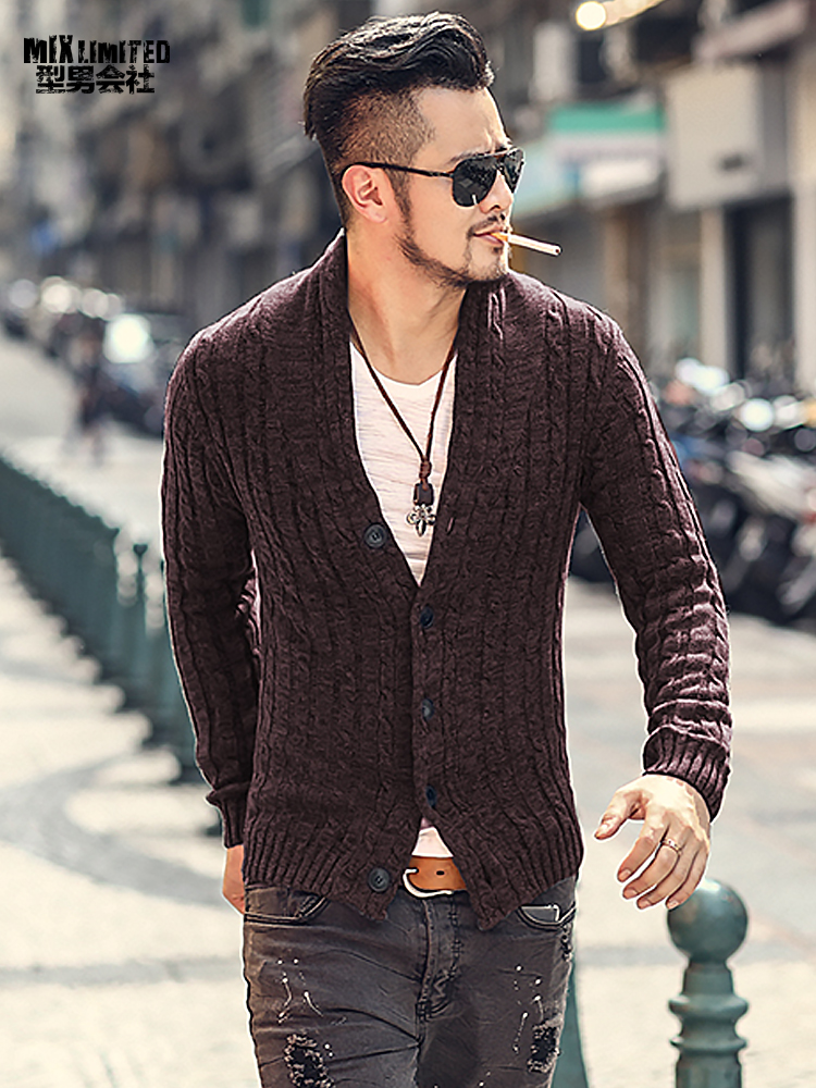 Winter Men Casual Knitted Cardigan Slim European Style Long Sleeve Cardigan Fashion Retro Warm New Thick Knitwear For Men J281-2