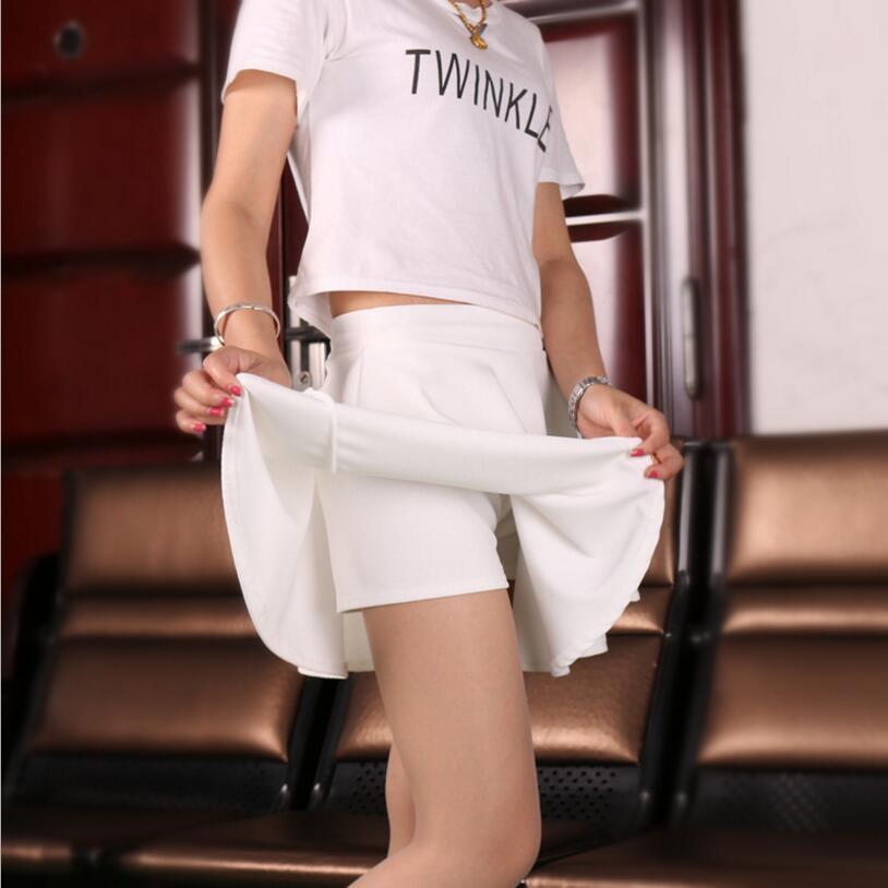 Women Summer Short Skirts High Waist Pleated Sport Skirts Leisure Mini Skirts With Safety Pants Red Blue Black Femininas Saias
