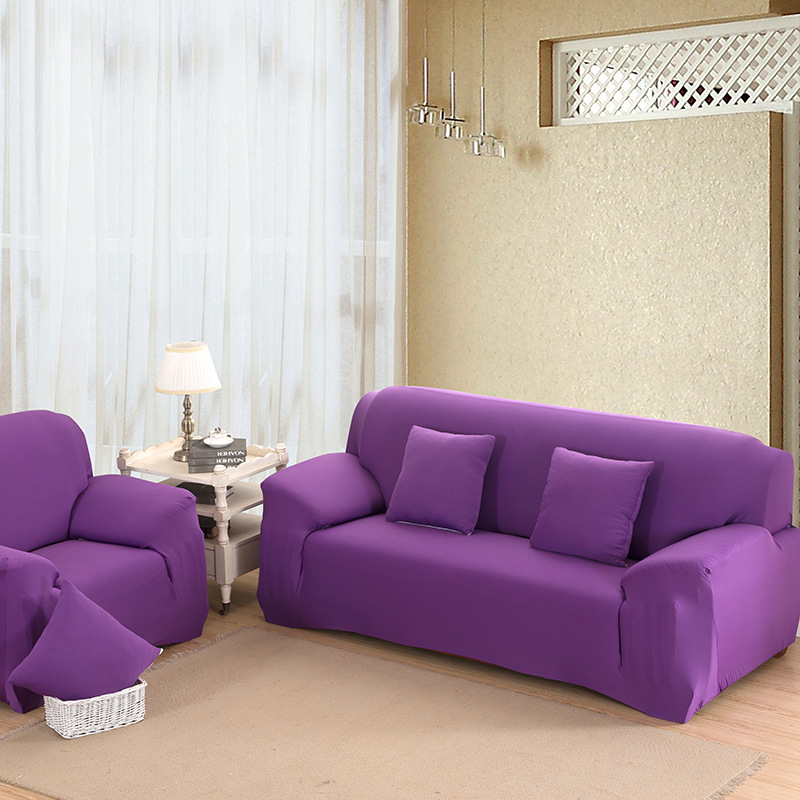 Sofa Slipcover Big Elastic Solid Sofa Cover Suitable for four Seasons Purple Fabric cover for couch : purple sectional couch - Sectionals, Sofas & Couches