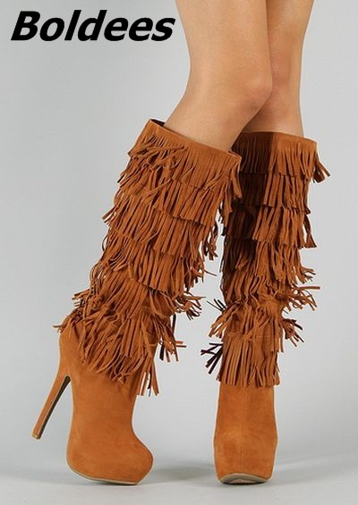Fancy Women Brown Suede Flowing Fringe Stiletto Heels Mid-Calf Boots Round Toe Platform Tassel Side Zip Long Boots New Design ethnic style fringe and criss cross design mid calf boots for women