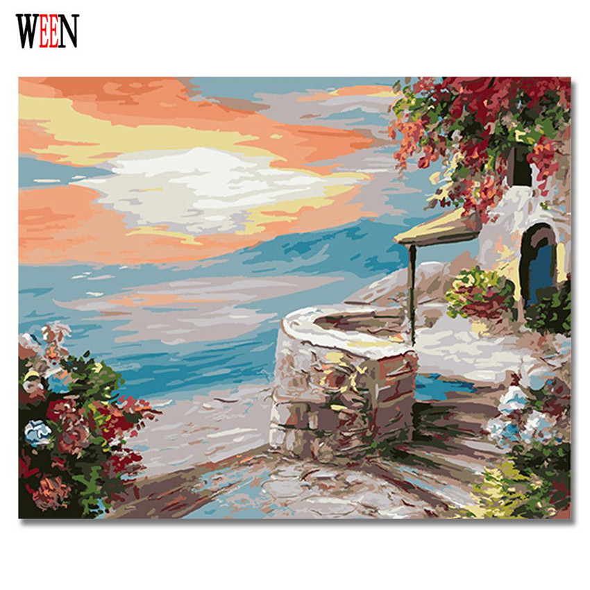 Us 7 97 50 Off Ween Greece Landscape Painting By Numbers Diy Canvas Art Digital Wall Picture Castle Coloring By Numbers Artwork For Living Room In