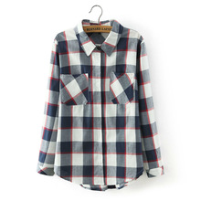 Blusas Femininas Women Tops Women's Classical Long Sleeved Blouses Lapel Pocket Plaid Color Shirt Female High Qualily Woman
