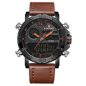 Image 5 - NAVIFORCE Mens saatler lüks marka erkek deri spor saatler erkek kuvars LED dijital saat su geçirmez askeri kol saati