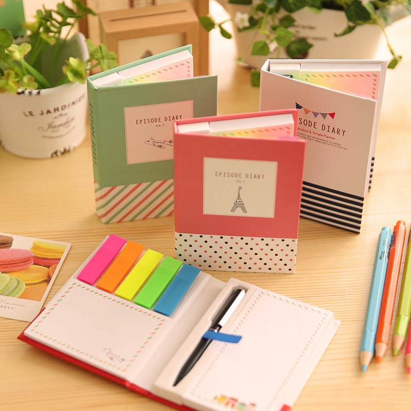 Kawaii Cute Animal Hardcover Memo Pad Post It Notepad Sticky Notes Stationery Diary Notebook With Pen Office School Supplies