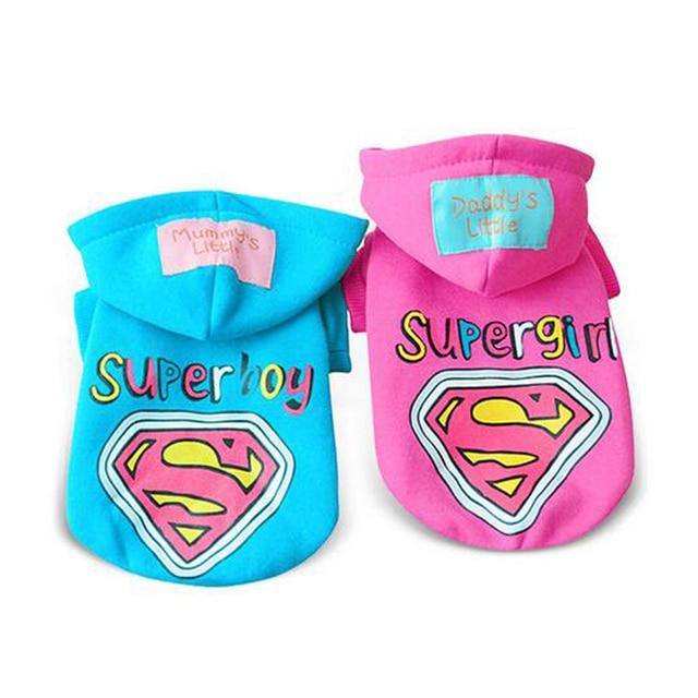 2017 Winter Pet Dog Clothes Cotton Super Boy Super Girl Dog ...