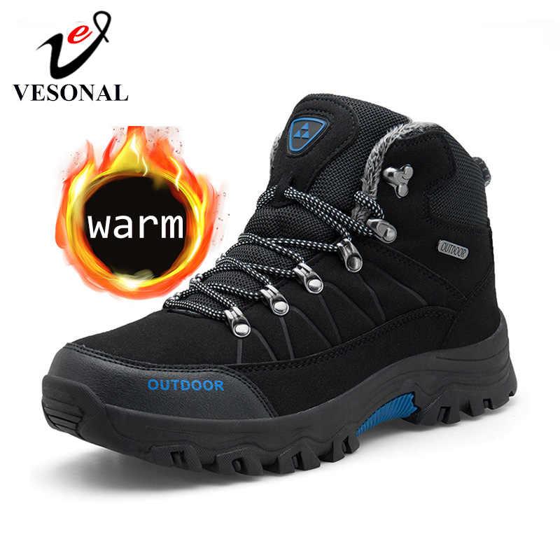 VESONAL/2019 г., зимние уличные мужские ботинки с мехом и плюшем, теплые мужские повседневные кроссовки, Осенняя обувь