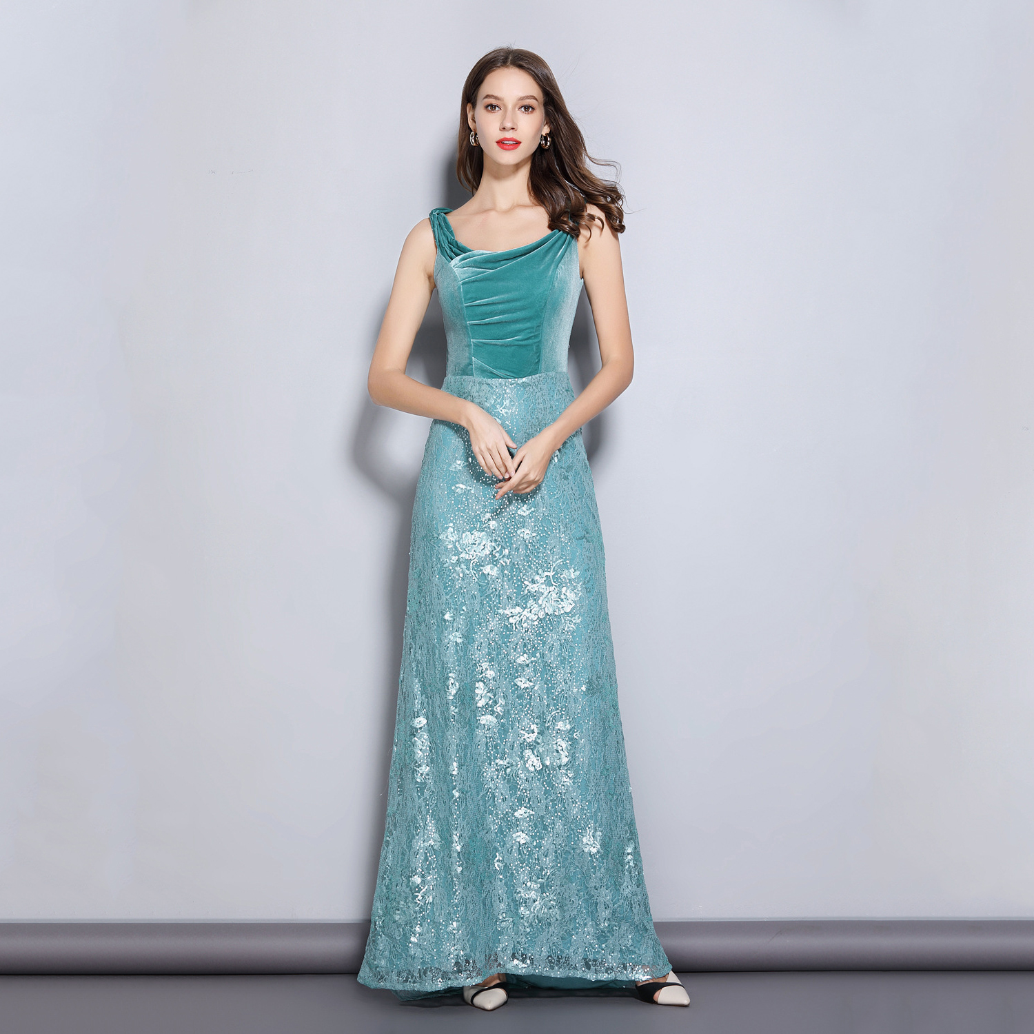 Sleeveless A Line   Evening     Dress   Sequins Lace Embroidery Prom Party Gowns Vestidos De Festa Elegant Formal   Dresses   For Women
