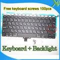 """A Estrenar Para MacBook Pro 13.3 """"A1278 teclado Pequeño Entrar Rusia RS + Backlight teclado Retroiluminado + 100 unids tornillos 2008-2012 Años"""