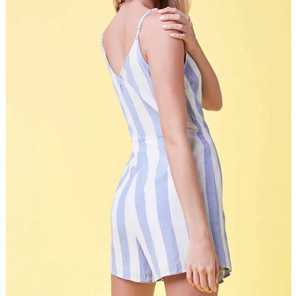 Neue Frauen Dünne Playsuits Shorts Ärmel Camis Striped Sommer Mini Overalls Strampler Dame Spitze Up Onesies Kurze Hosen Overall