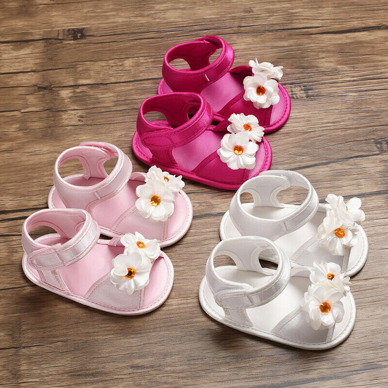Infant Toddler Baby Kids Girls Soft Sole Sandals Princess Flower Velcro Shoes